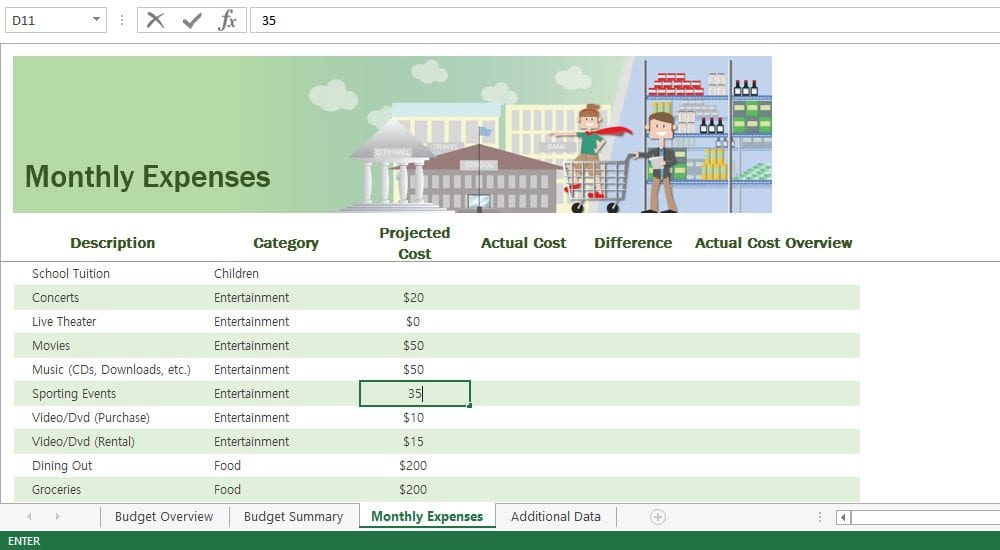 Step 4-3: Fill in projected cost column under monthly expenses