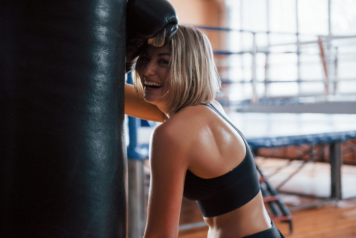 Woman in Boxing Gloves Smiling